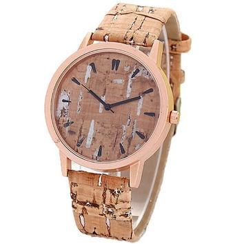 Mens Womens Graffiti Imitation Wood Leather Strap Outdoor Sports Wrist Watch Best Lover Gift