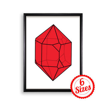 Digital Poster Print JPG Files - Large Red Crystal - 18x24 / 11x17 / 8.5x11 / 8x10 / 5x7 / 4x6
