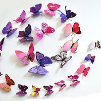 12 Pcs 3D Butterfly Wall Stickers Art Decor Decals (Purple)