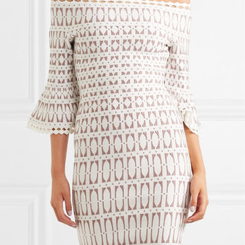 Hervé Léger - Off-the-shoulder stretch jacquard-knit dress