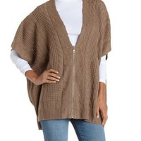 Taupe Zip-Up Cable Kiit Poncho Sweater by Charlotte Russe
