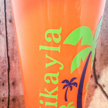 Stadium Cup, plastic tumbler, travel cup lid straw, Palm Trees name or monogram neon pink, orange, green drinkware, keepsake, favor, gift