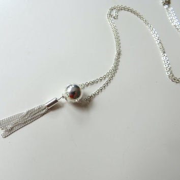 Sterling Silver Tassel Necklace. Silver Tassel Necklace. Layering Necklace. .925 Sterling Silver.