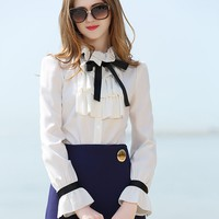 White Ruffle Front Bow Tie Long Sleeve Chiffon Shirt