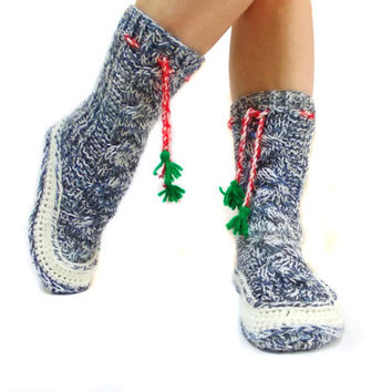 Christmas Cable Knit Socks, House booties, Gift Socks, Long Pompom Cute Slippers,