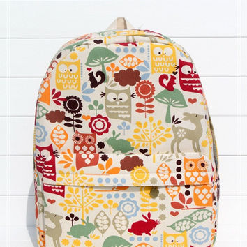 Animal Print Canvas Backpack = 4887415300