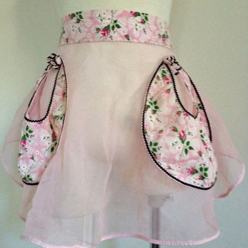 Vintage 1950s Sexy Sheer Pink Hostess Apron w Circle Pockets