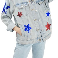 Topshop Sequin Star Denim Jacket | Nordstrom