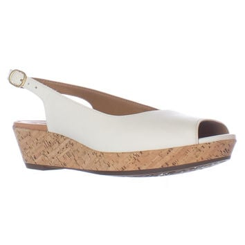 Clarks Orlena Currant Wedge Slingback Sandals - White