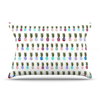 "Monika Strigel ""Pineapple People"" White Multicolor Pillow Case"