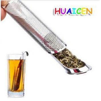 New Stainless Steel Tea Pot Infuser Handle Tea Leaf Strainer Spice Infuser Filter Diffuser Pipe Hole 14.5*3cm