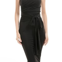 Honey Couture LEYLA Black Strapless Tie Midi Dress