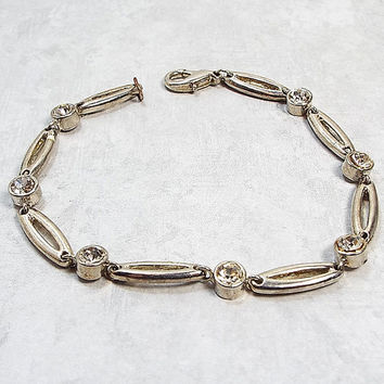 Vintage Rhinestone Bracelet Silver Tone Metal Open Link Lobster Claw Clasp Womens Retro Jewelry 1980s 80s