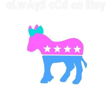 Multicolored democratic Donkey with Bow vinyl Decal