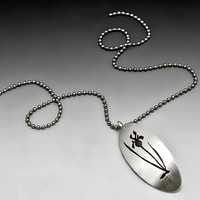 Silver Iris Pendant, Sterling Silver Modern Flower Necklace, Floral