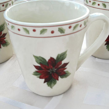 Merry Brite Set of 3 Cups - Christmas Mugs - Christmas Poinsettia Mug -Merry Brite Coffee Cups Mugs Holly Berries Poinsettia