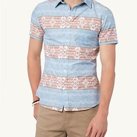 Retro Faded Aztec Short Sleeve Button Down