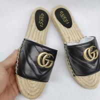 GUCCI Black Women Casual Fashion Flat Sandal Slipper Shoes
