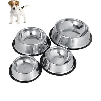 TOPINCN  Dog Bowl 4 Sizes Stainless Steel Lovely Automatic Pet Feeder  Water Bowl For Cat Puppy Dog  Food Water Drink