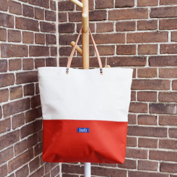 Large canvas tote bag shopping bag casual tote school bag orange brick red beige book bag beige genuine leather strap for women