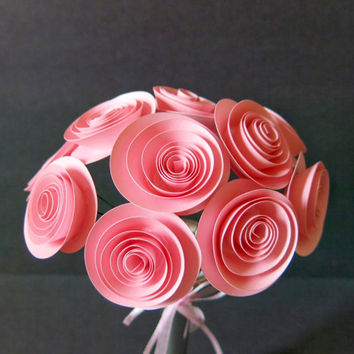 "bouquet of 12 pink paper roses baby shower centerpiece vase 1.5"" rolled paper art small flowers with stem arrangement Girlfriend gift idea"