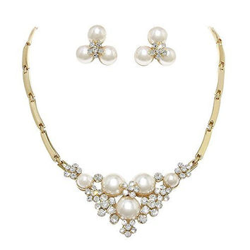 Just The Right Touch Cream Ivory Pearl Bridal Necklace Set With Crystal Detail Bling Prom Earring Set AD1