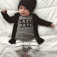 autumn baby boy clothes baby clothing set fashion cotton long-sleeved letter t-shirt+pants newborn baby girl clothing set
