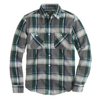 J.Crew Mens Flannel Shirt In Overcast Blue Herringbone Plaid