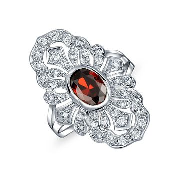 Red Simulated Ruby CZ Fashion Full Finger Armor Ring Silver Plated