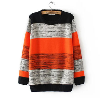 Korean Women's Fashion Winter Stripes Long Sleeve Pullover Sweater [8431753997]