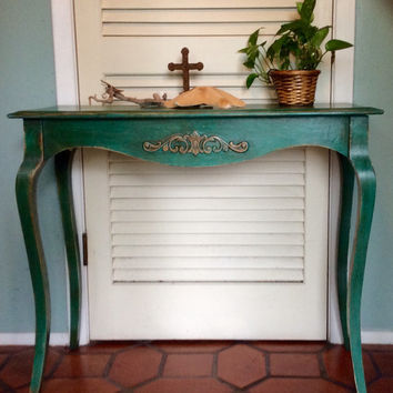 Shabby Chic Turquoise Sofa Table