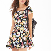 FOREVER 21 Floral Print Skater Dress Black/Multi