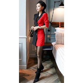 Women Double Breasted Blazer Pencil Work Dress Business Autumn Winter Black Red Patchwork Notched Collar Sheath Office Dress