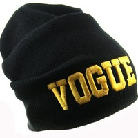 New Beanie VOGUE Theme Celebrity Inspired Fashion One Size Unisex Beanie-Black Color