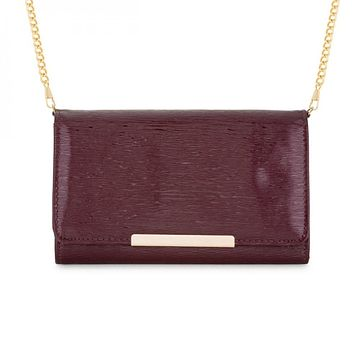 Laney Burgundy Textured Faux Leather Clutch With Gold Chain Strap