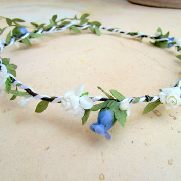 Flower Crown, Rustic Bridal Headband, Woodland Headpiece, Country Wedding, Romantic, Fairy, Green, white , Simple, Small