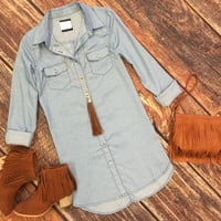 All Things Considered Chambray Tunic Dress