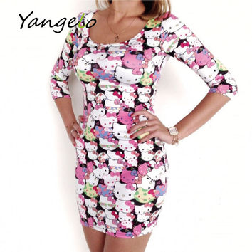 2016 News Women Dress Mini Hello Kitty Printed Cute Cartoon Pencil Slim Thin Sexy Party Office Dress