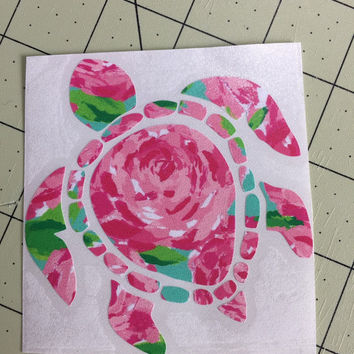 Lilly Pulitzer inspired turtle Decal or car, laptop, cup, cell phone, Yeti, iphone, notebook, tumbler, boots, rambler, cooler