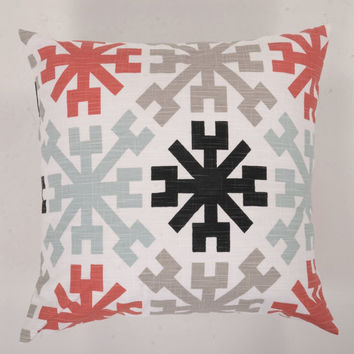 Decorative Throw Pillow Cover Slub Snowflake Coral Blue Black  Ecru- 10 Cushion Cover Sizes Available including 18 x 18 and 20 x 20