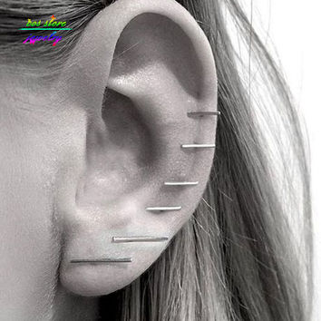 (3 Pair/Set ) New Minimalist Simple Gold/Silver/Black Plated Bar Stud Earrings For Women Bijoux Boucle d'oreille Party Earings