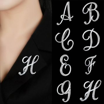 Hot Sale Crystal 26 letters Women Girls Sweater Scarf Suit Charming Female Brooch Fashion Jewelry