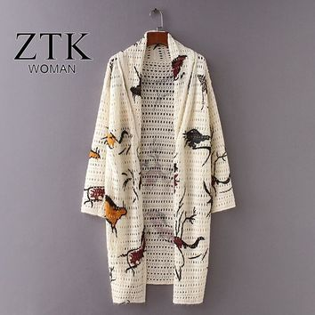 women long cardigan 2018 spring autumn new causal printed cartoon thin knitted coat sweater long sleeve open sitich