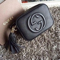 Gucci Fashion Casual Women Shopping Fashion Leather Shoulder Bag Black G
