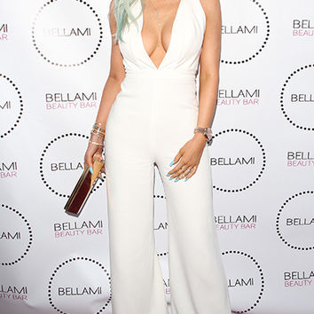 KYLIE JENNER WEARING OUR NAV WHITE JUMPSUIT