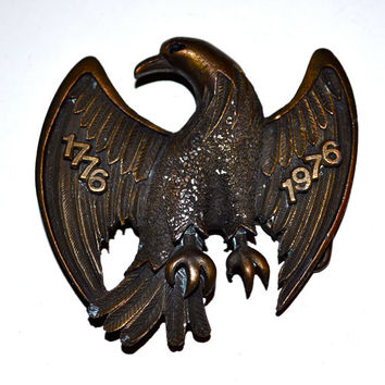 Solid Brass AMERICAN EAGLE 1776 1976 Centennial 1970s Vintage Belt Buckle Patriotic United States Collectors Item