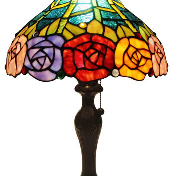 Tiffany Style Roses Table Lamp 19 In