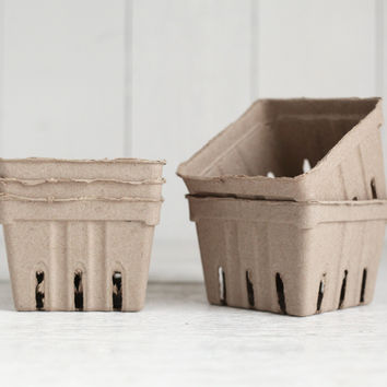 Paper Berry Baskets - 5 Natural Brown Paper Pulp Boxes