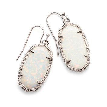 Kendra Scott Dani White Kyocera Opal Silver Earrings