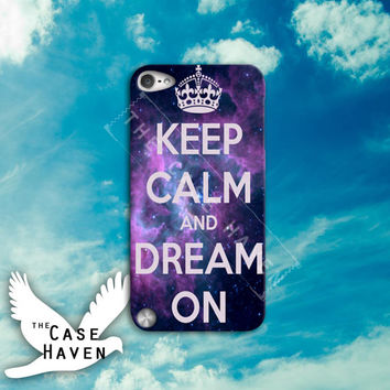 Keep Calm and Dream On Space Galaxy Cute Tumblr Blue Cool Custom iPod Case for iPod 4th Generation or iPod Touch 5th Generation Case